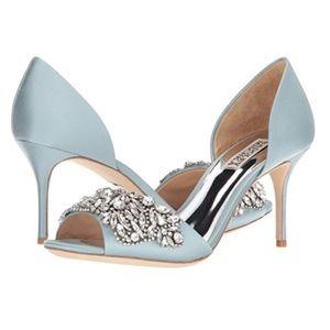 """NIB Badgley Mischka Crystal Blue 3"""" Heels, Size 8"""